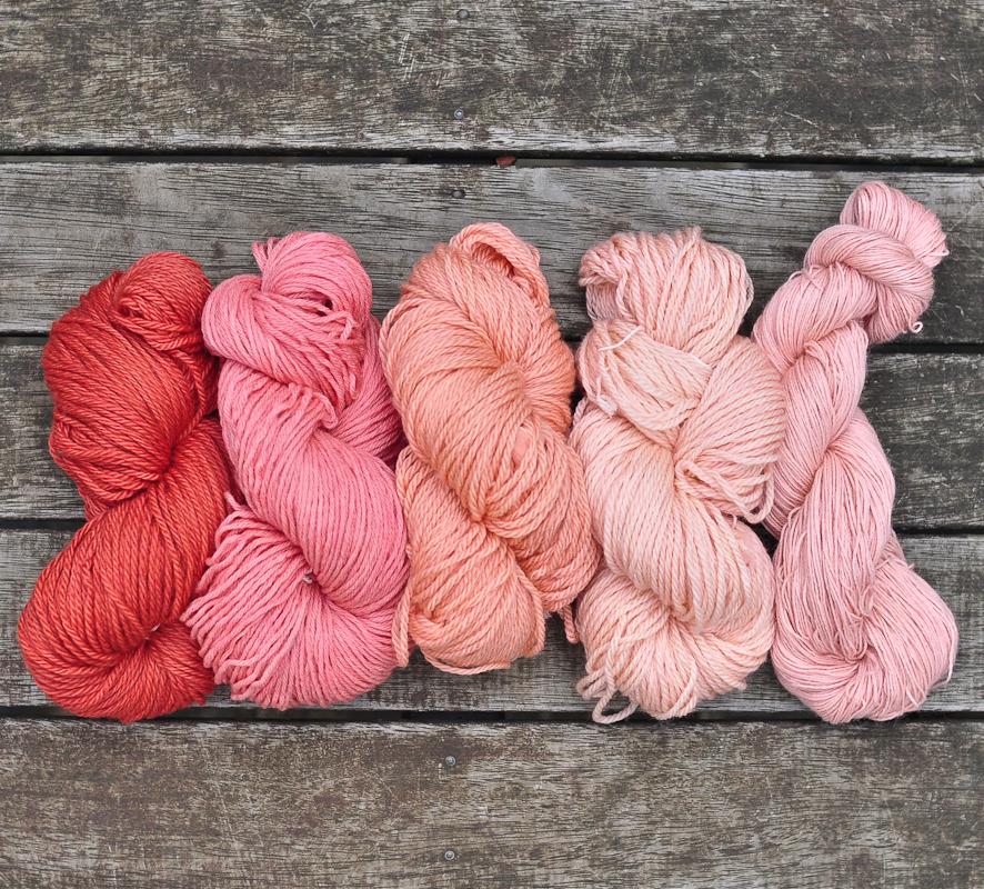 madder root dyed yarns