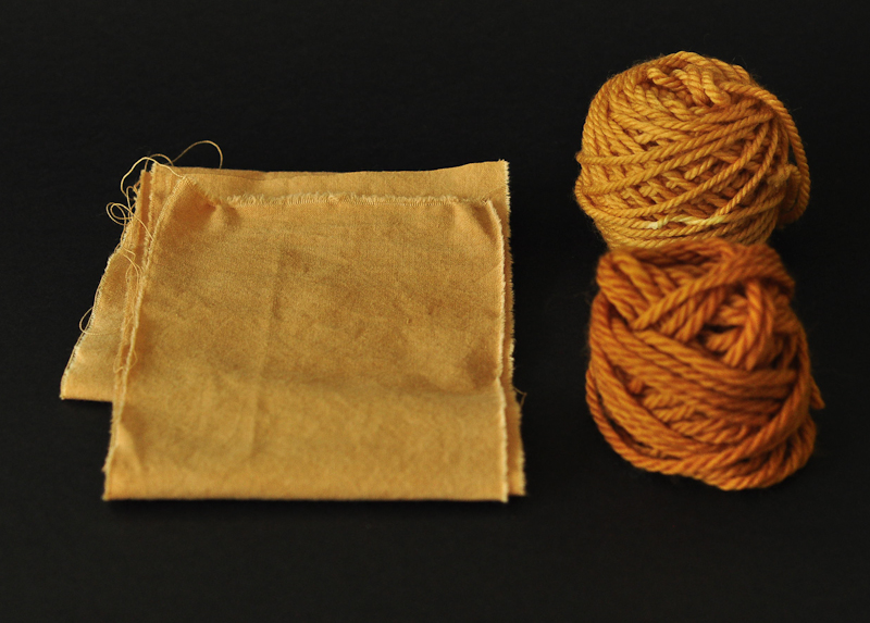 fustic dyed cotton and yarns. © Victoria Pemberton 2014