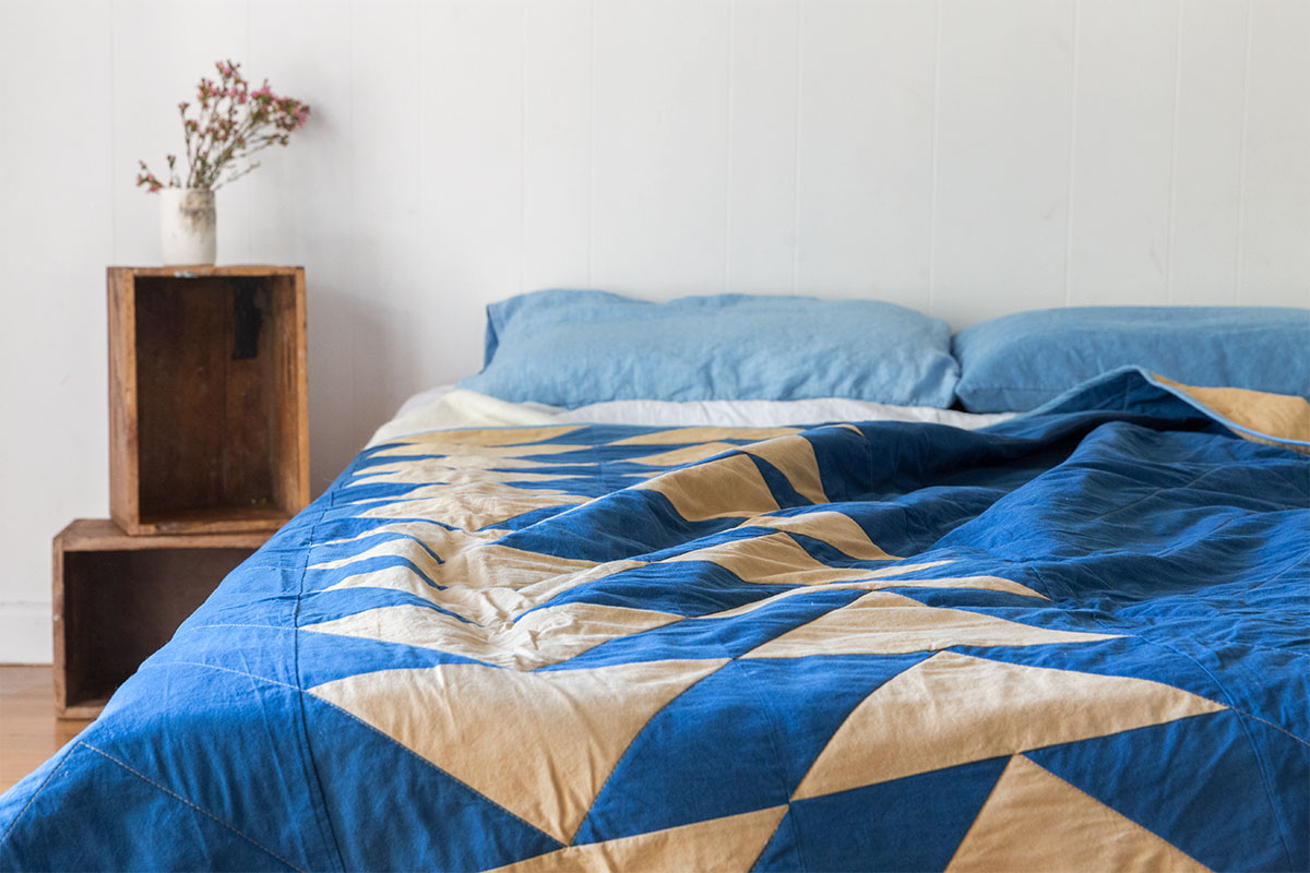 Indigo Fustic Flying Geese Quilt by Victoria Pemberton Image © Copyright Lillie Thompson
